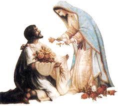 offrir des fleurs à Marie