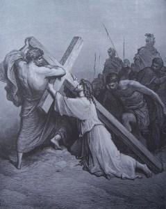 gravure dore bible - jesus succombant sous sa croix