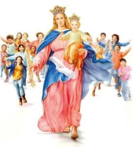 Marie coure avec enfants