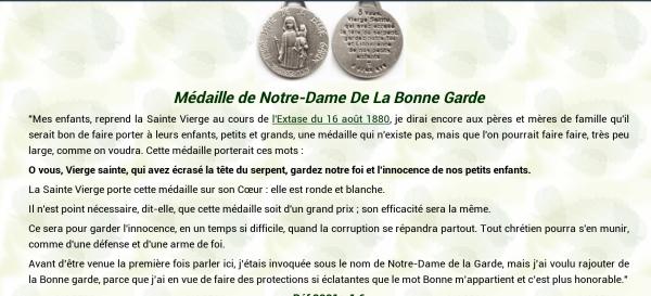 MÉDAILLE DE NOTRE DAME DE LA BONNE GARDE