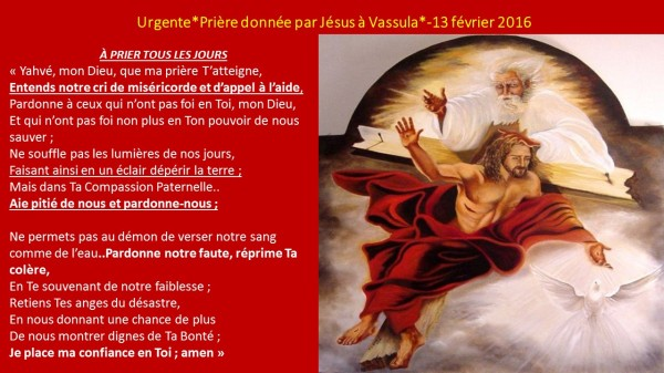 VASSULA Urgente PRIERE DE JESUS-13 FÉV 2016