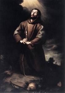 saint francois Bartolomé_Esteban_Perez_Murillo_-_St_Francis_of_Assisi_at_Prayer