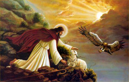 jésus brebis et aigle