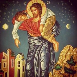 jésus le-bon-pasteur-porte-une-brebis-bless