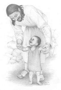 jésus souris aime bébé