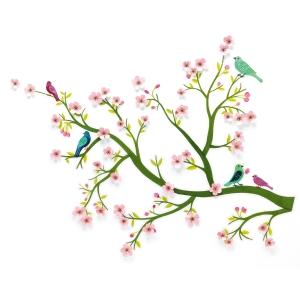 oiseau arbre rose