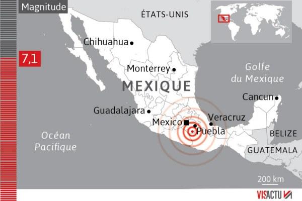 mexique 7.1 séisme 19 sept 2017 infographie-visactu mexique 7.1 séisme 19 sept 2017