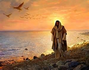 jésus marche au bord de l eau
