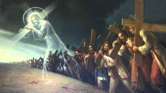 jésus porte sa croix avec nous
