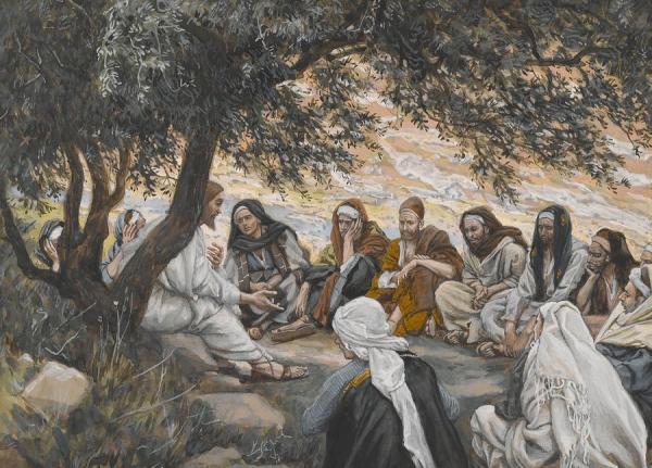 jésus enseigne apotre the-exhortation-to-the-apostles-tissot