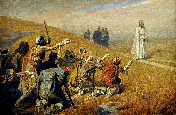 jésus guérit les malades GebhardFugelChristusUndDieAussatzigenC1920
