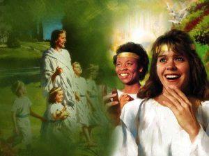 peuple Dieu robe blanche