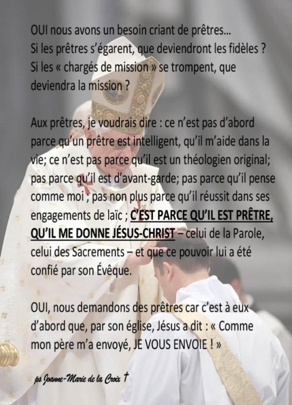 Prêtres SOEUR JOANNE-MARIE DE LA CROIX