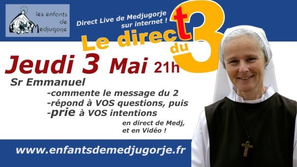 SOEUR EMMANUEL MEDJUGORJE 3 MAI 2018 LIVE