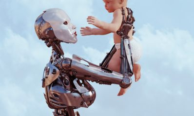 Female robot holds baby up high in hands