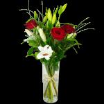 FLEUR elan-romantique-bouquet-de-lys-blanc-et-roses-rouges
