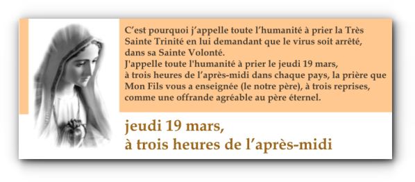 CORONAVIRUS PRIERE 19 MARS 2020 pedido frances